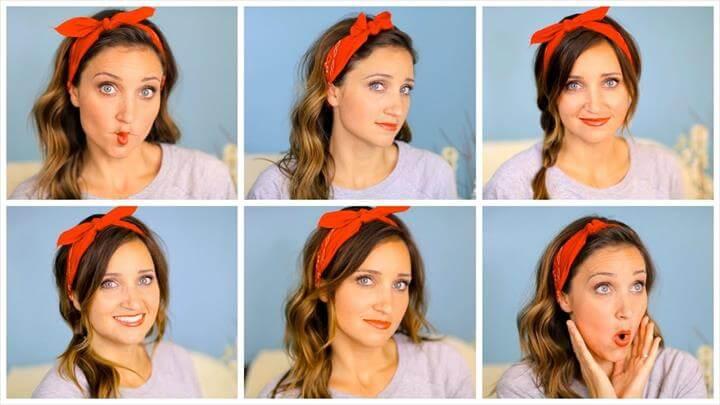 Six DIY 1-Minute Bandana Hairstyles - Cute Girls Hairstyles