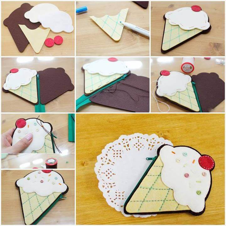 DIY Ice Cream Shaped Coin Purse
