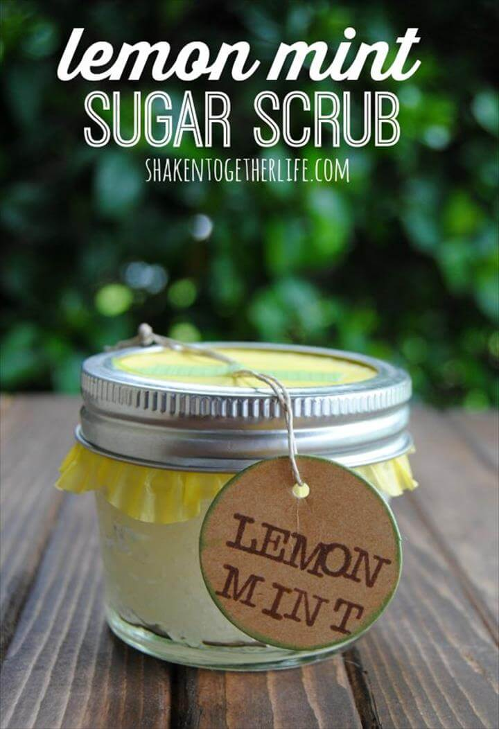 Diy Crafts Ideas. Lemon mint sugar scrub is a fantastic Mothers Day gift!