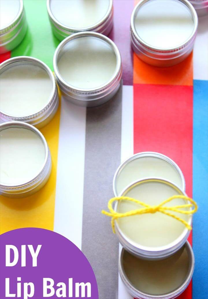DIY Lip Balm Recipe that makes great homemade gifts! Simple enough for kids to help