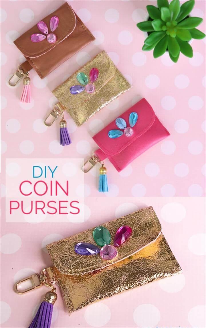 diy coin purse, leather purse
