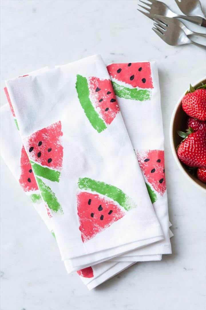 Watermelon Print Napkins, Cute Mother's Day Crafts for Kids - Preschool Mothers Day Craft Ideas