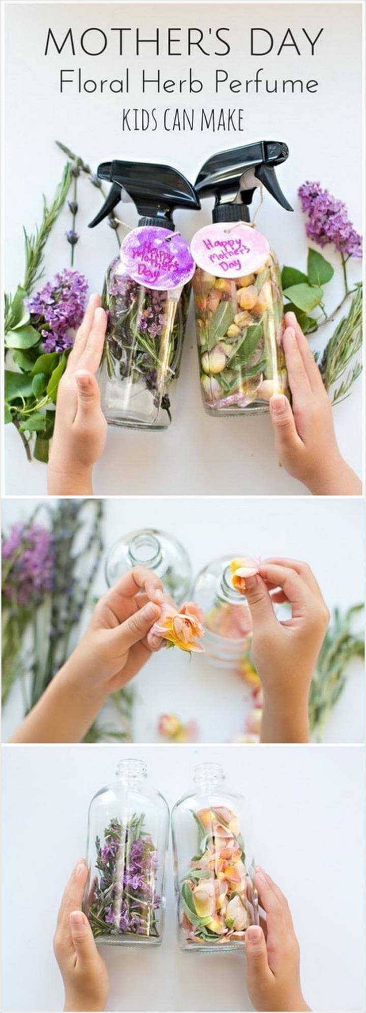 Mother's Day Crafts and gifts: DIY Mother's Day Floral Herb Perfume.