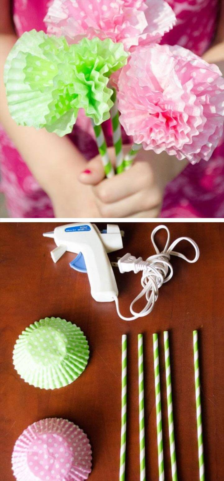 DIY Paper Flowers From Cupcake Liners