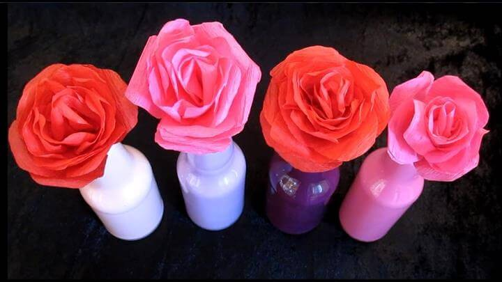 DIY Paper Rose Flower Bouquet, DIY Mother's Day Gift Ideas, Easy Crafts For Kids