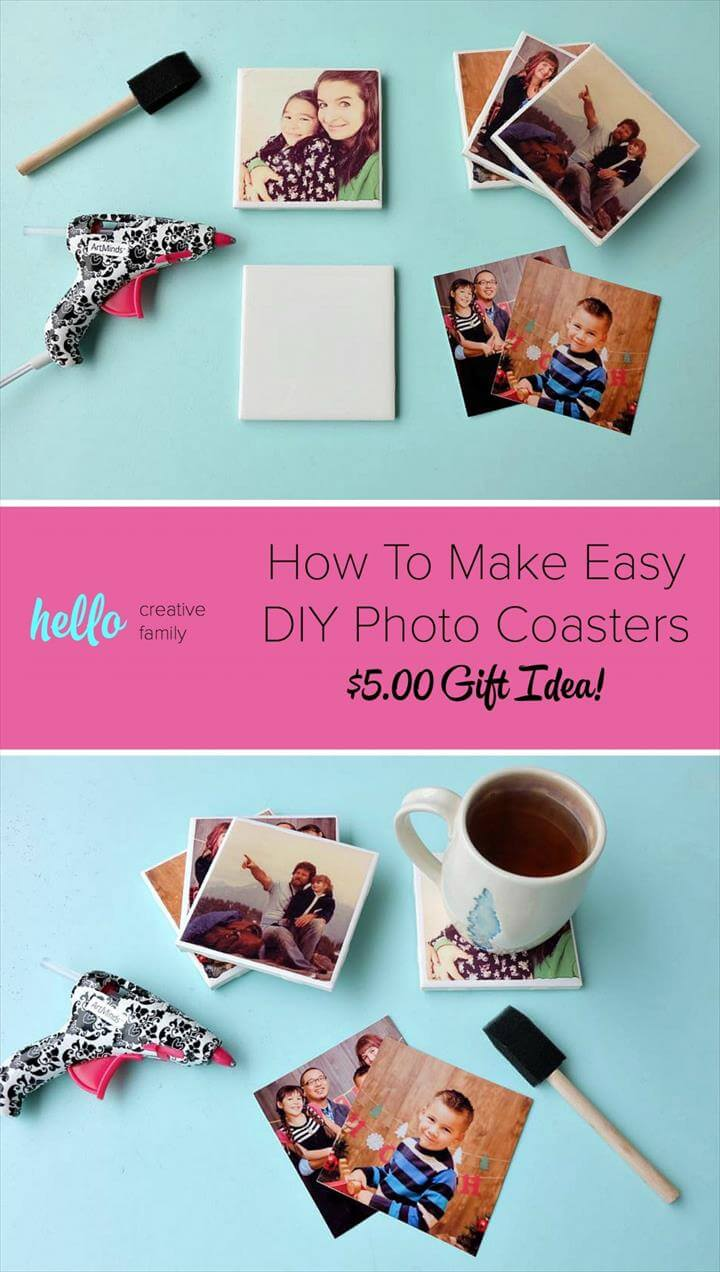 Turn your favorite family photos into gorgeous DIY photo coasters! This project is an easy
