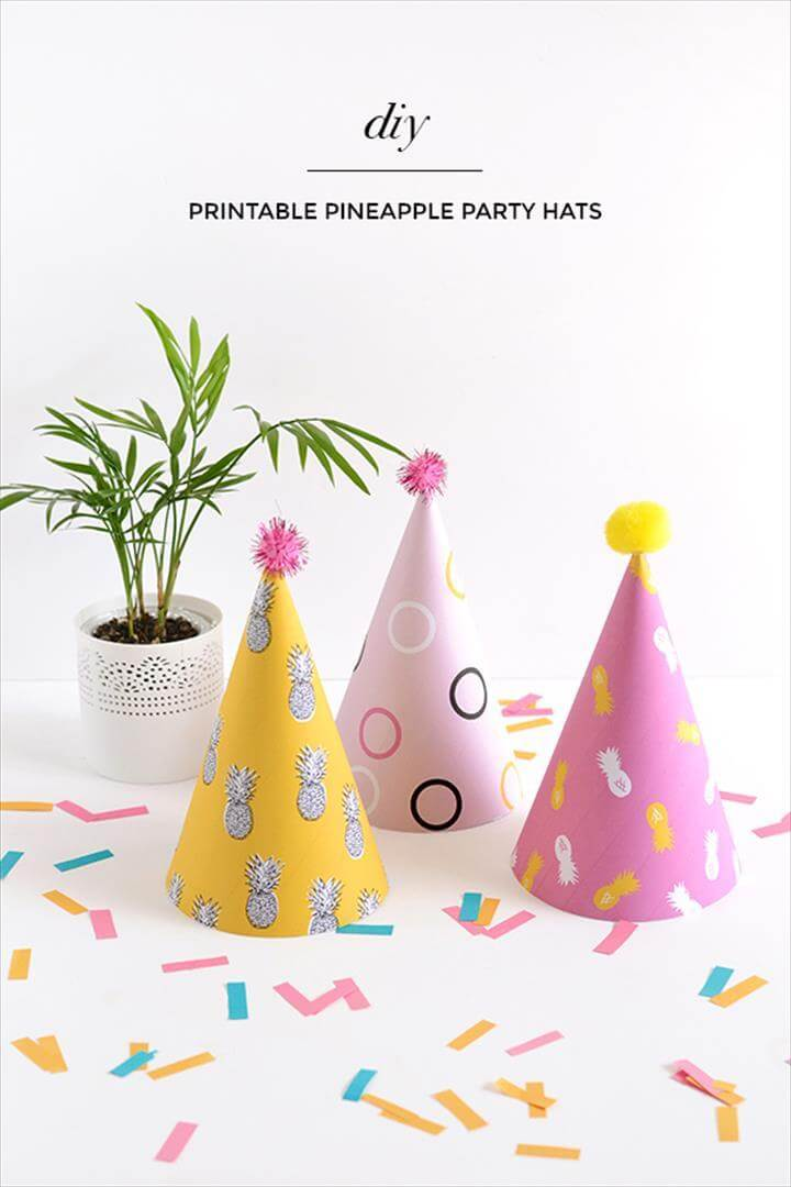 printable pineapple party hats