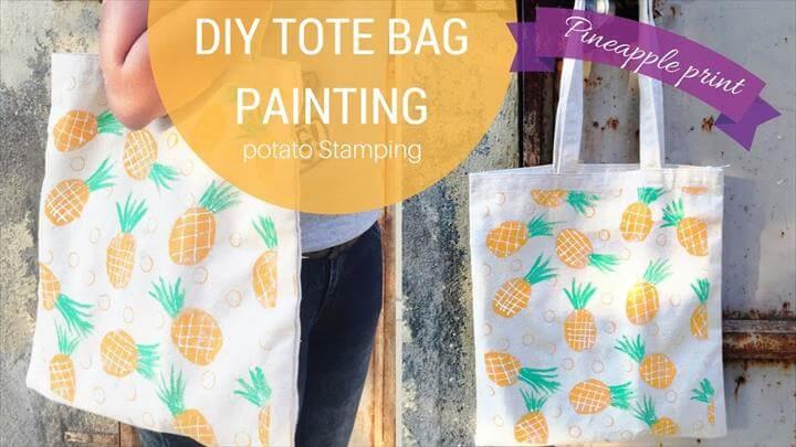 DIY Pineapple Tote bag, Potato stamping method