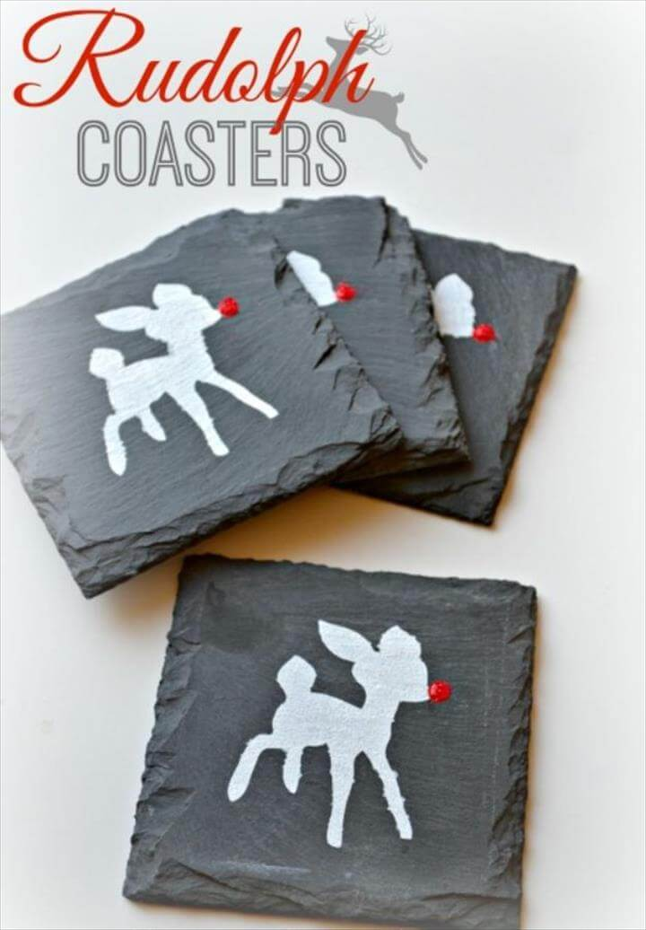 DIY Christmas Gifts - DIY Rudolph Coasters - Easy Handmade Gift Ideas for Xmas Presents -
