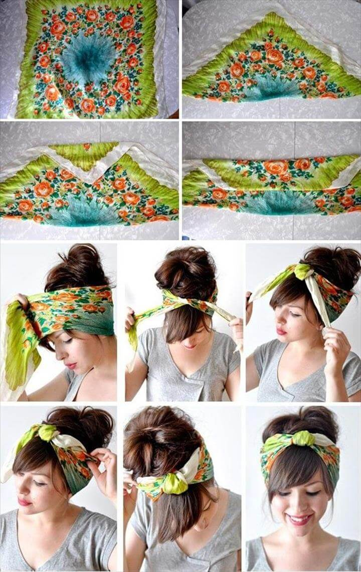 Pin up girl hair scarf -DIY. Summer look is fun and you can really make a nice look just.