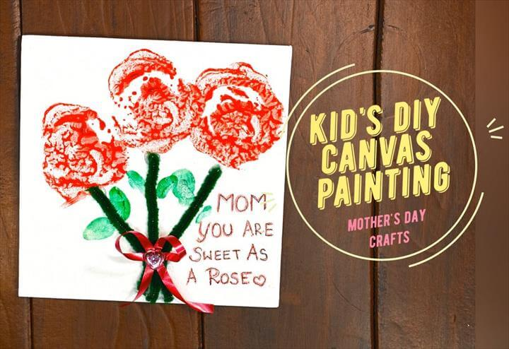 Kid's DIY Canvas Painting For Mother's Day Card