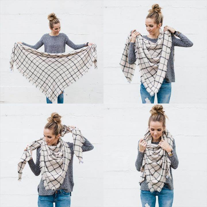 Fold your scarf in half so it's a triangle.