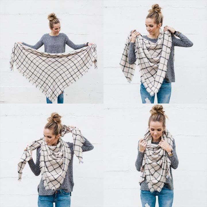 Diy Tie Blanket Scarf Diy And Crafts