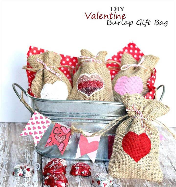 Diy Mothers Day Craft Gift Ideas Valentine Burlap Bag Easy Homemade Holiday Kid Project