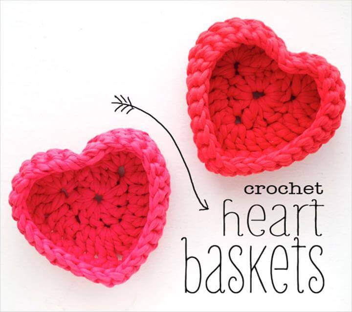 Gift Ideas - Crochet Heart Shaped Baskets For Beginners