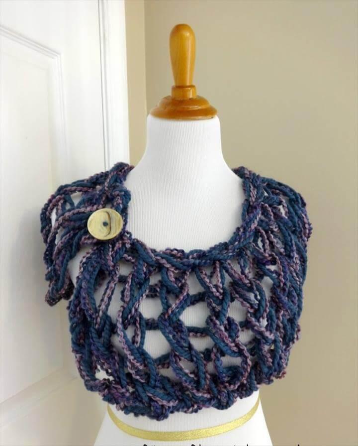 Free Knitting Pattern…Arm Knit Button Wrap
