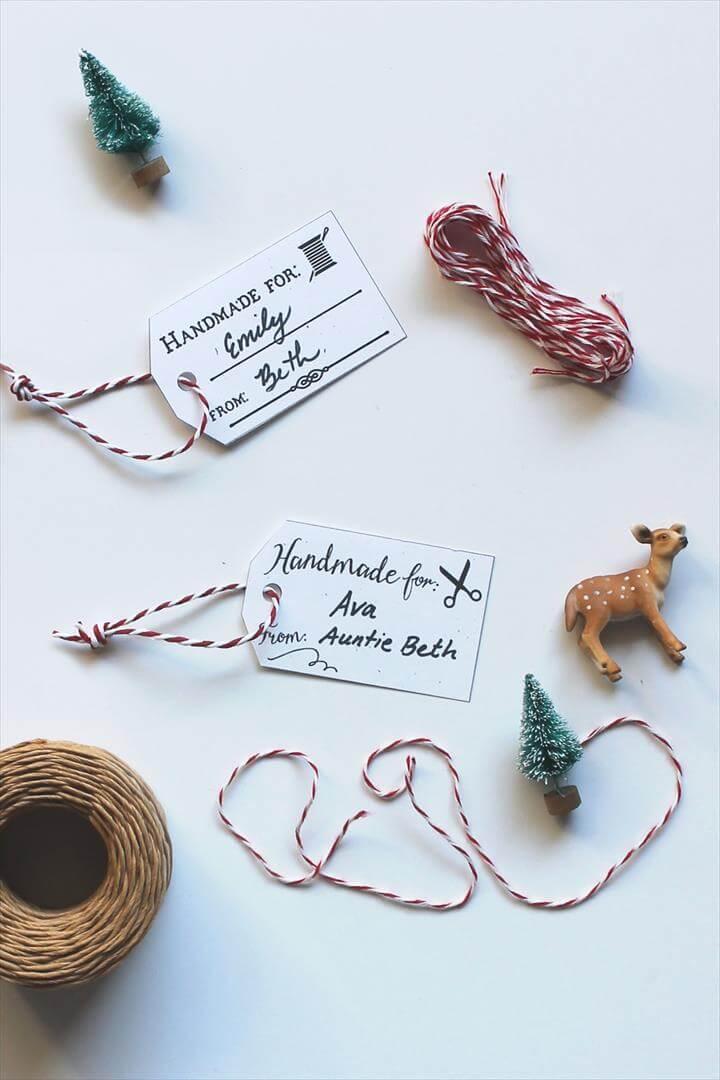 Free Printable Hang Tags for Handmade Christmas Gifts