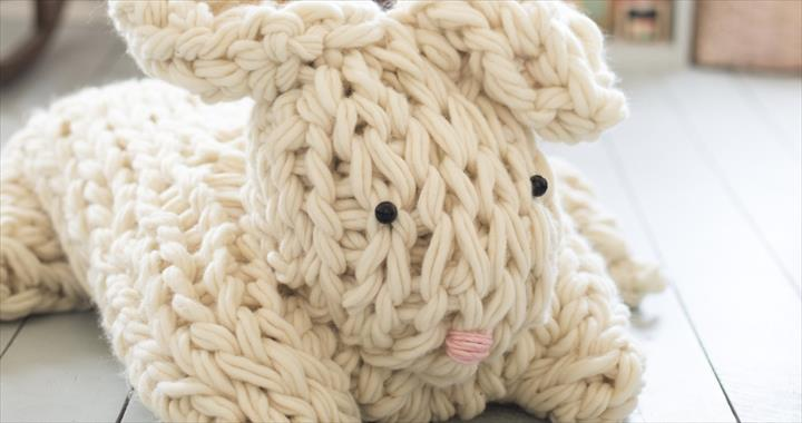 GIANT ARM KNIT BUNNY FROM FLAX AND TWINE