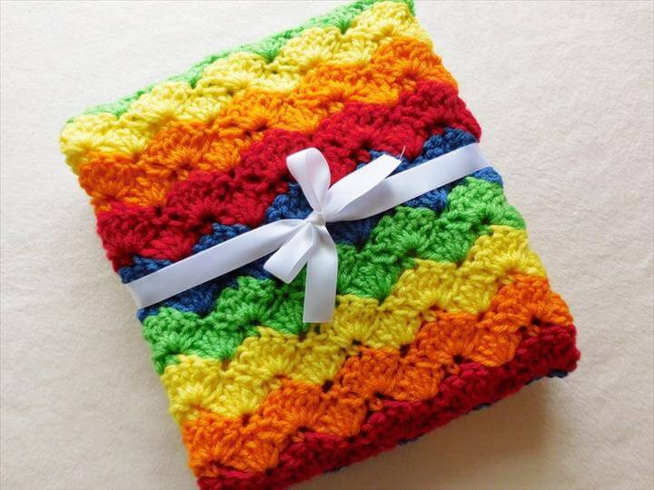 Handmade Crocheted Rainbow Baby Blanket