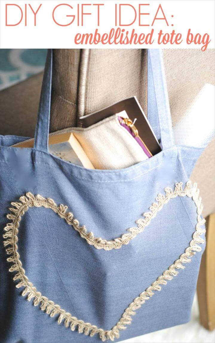 Great Mother's Day Handmade Gift Idea: Hand-Dyed Embellished Tote Bag