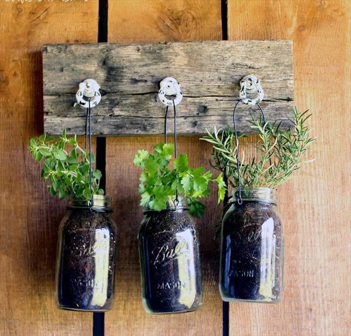 DIY Hanging Garden for Jarred Herbs