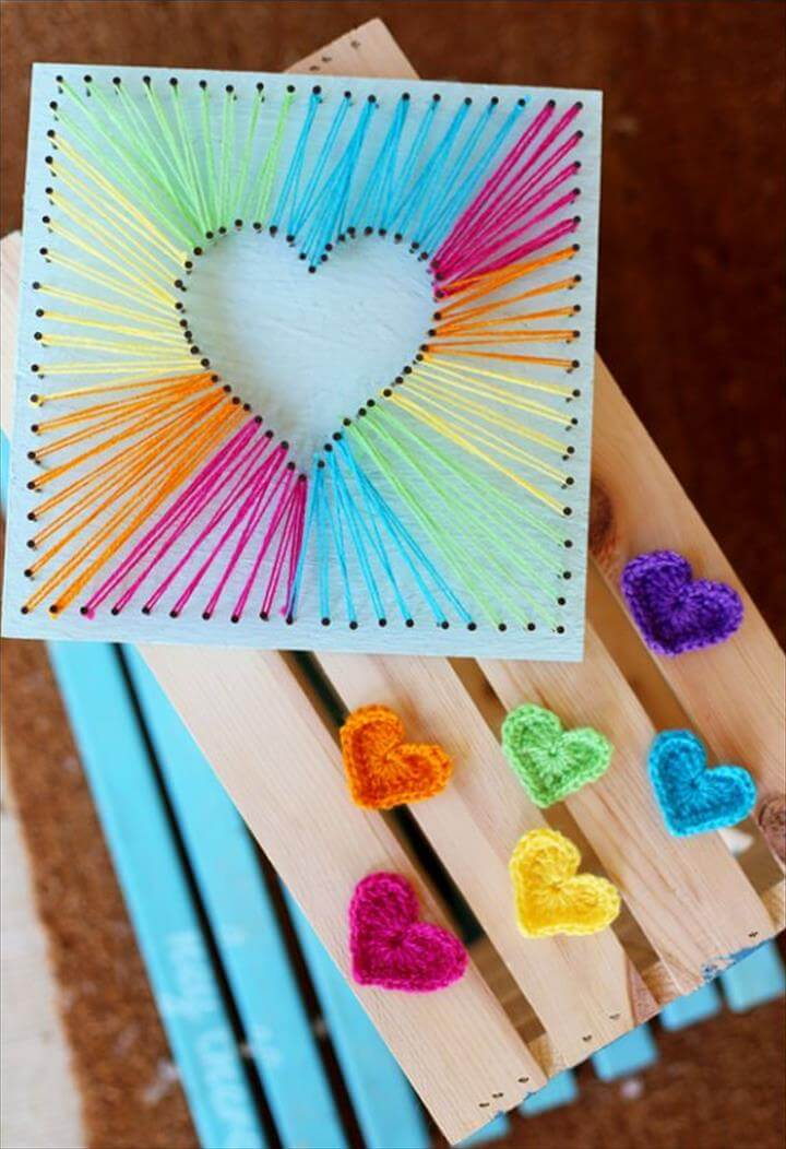 DIY Mothers Day Gift Ideas - Heart String Art - Homemade Gifts for Moms - Crafts