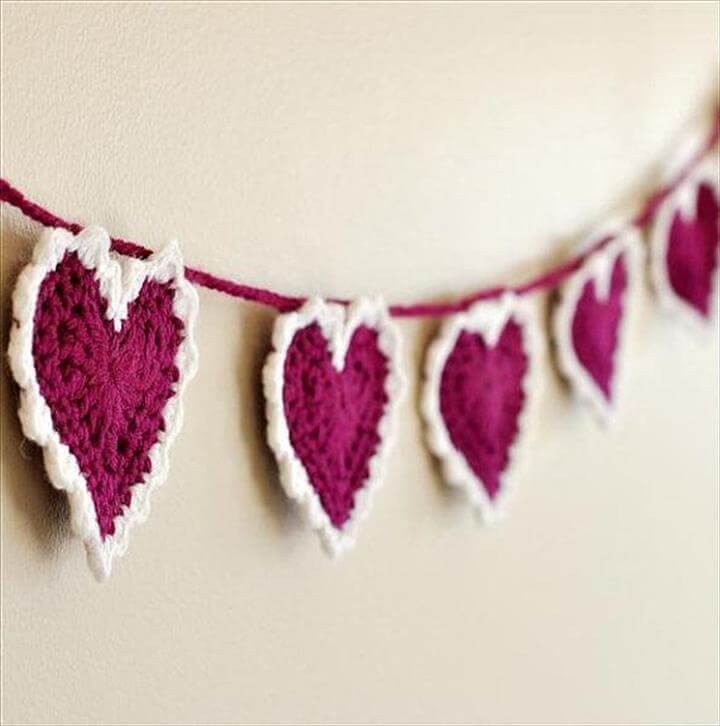 valentine heart wool garland