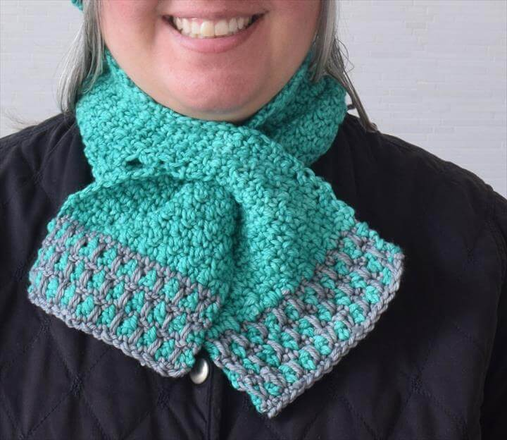 In the Neighborhood Keyhole Scarf, free crochet pattern