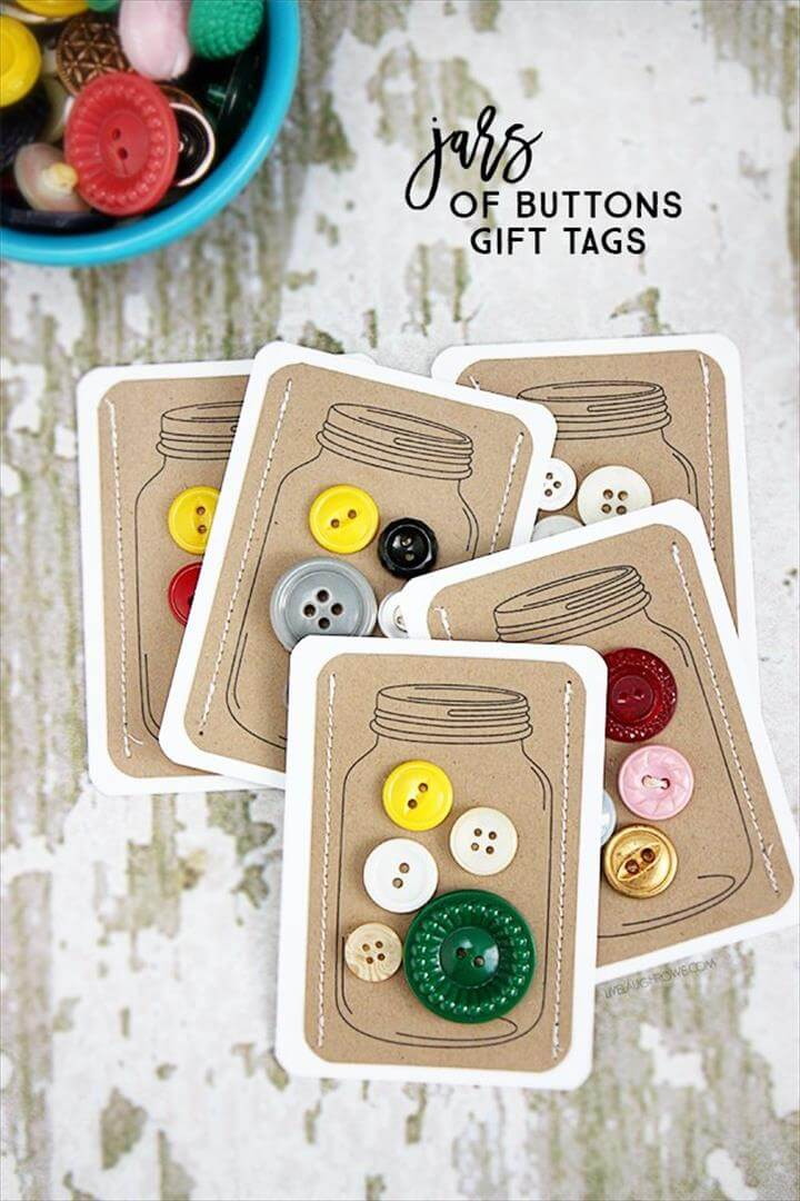 DIY Jars of Buttons handmade gift tags -- a perfectly fun and vintage embellishment for