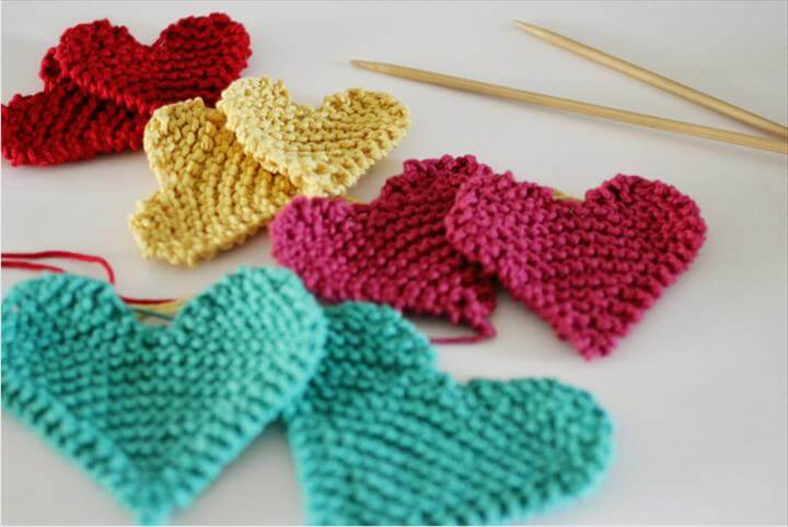 lovely knit hearts, simple and quick, knit, knitting ,Valentines Day, hearts