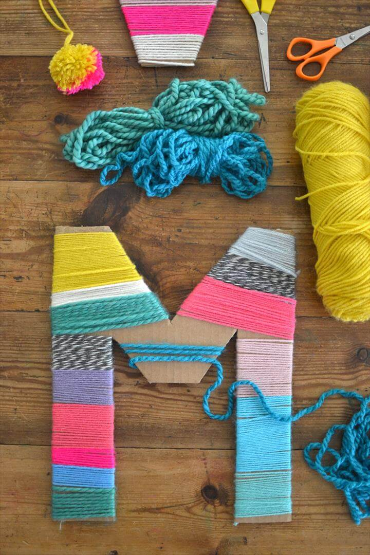 Yarn-Wrapped Cardboard Letters, Cute Mother's Day Crafts for Kids - Preschool Mothers Day Craft Ideas