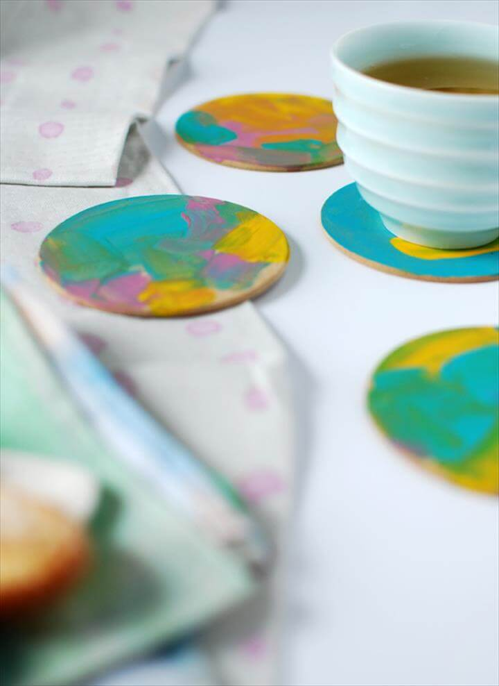 Abstract painterly coasters, from 3 gorgeous last-minute Mother's Day crafts for preschoolers (
