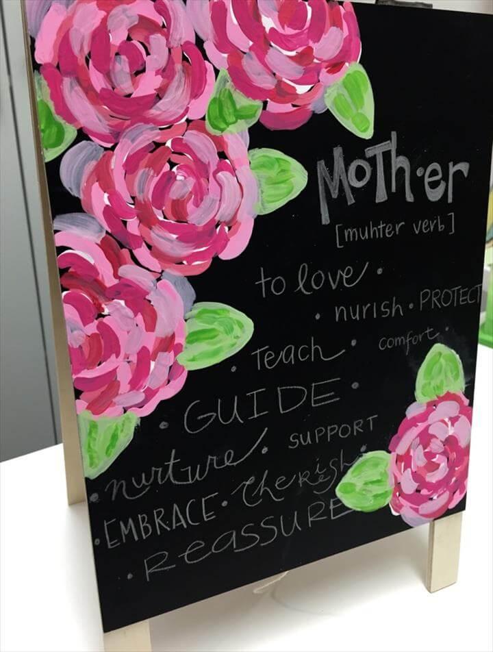 Personalized DIY Floral chalkboard