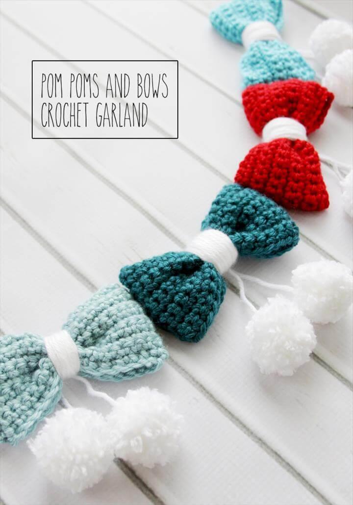 Pom Poms and Bows Crochet Garland