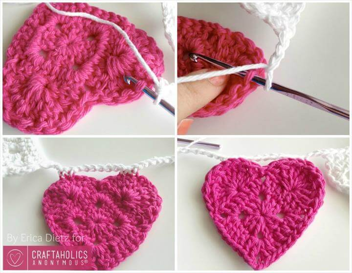Free Crochet pattern for a Hearts and Doilies banner