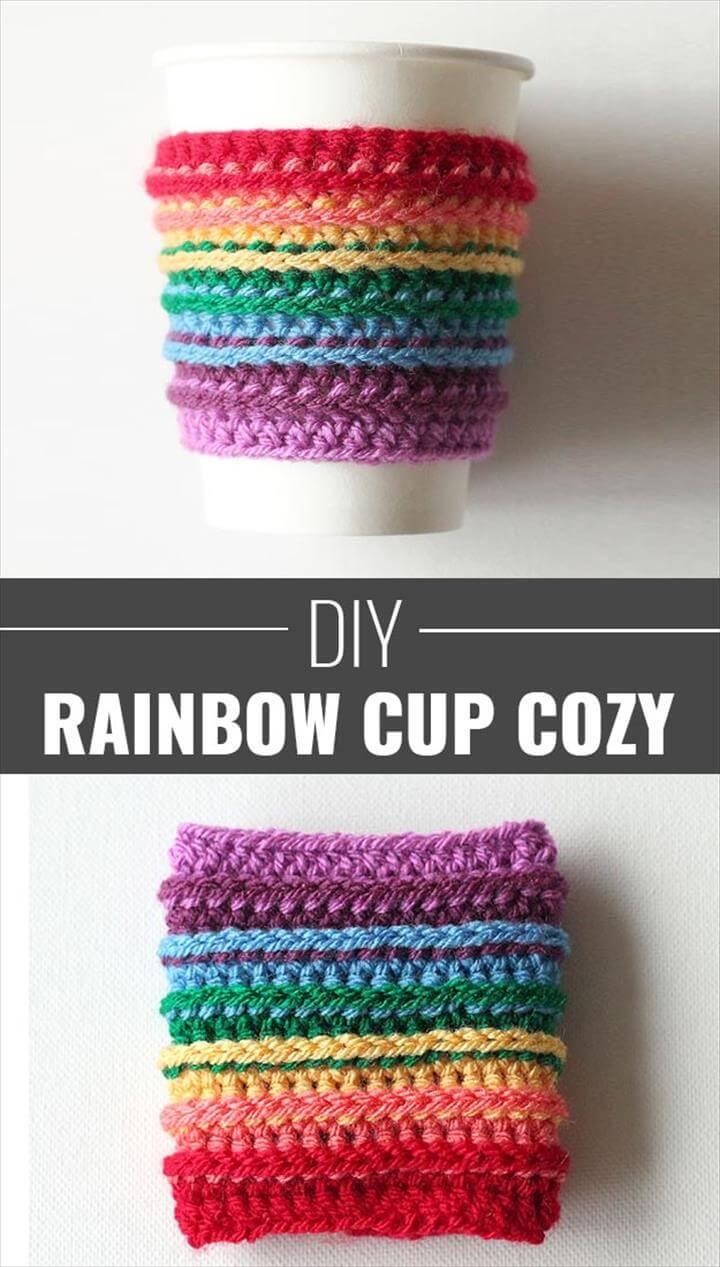 Crochet a Rainbow Cup Cozy