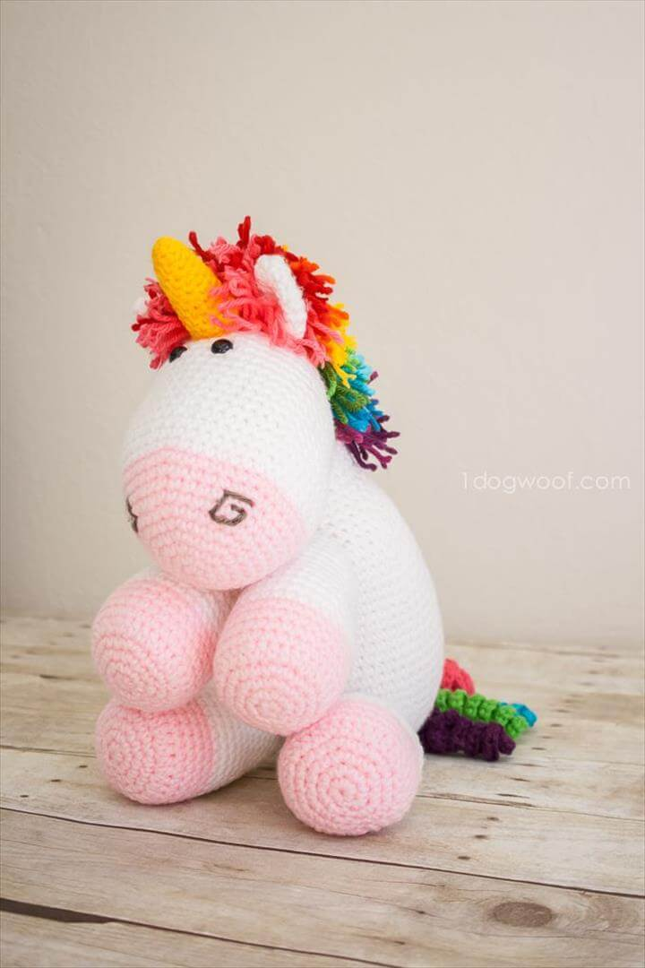 rainbow cuddles unicorn amigurumi toy