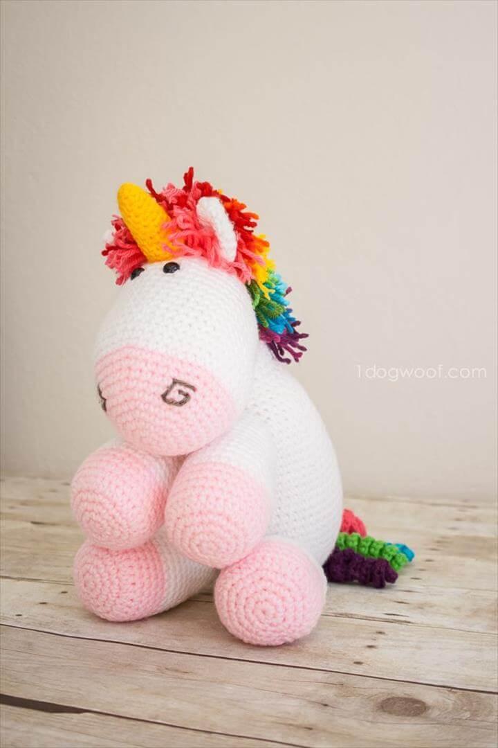 rainbow cuddles unicorn amigurumi toy