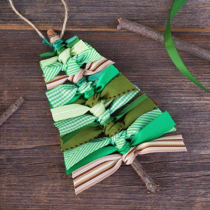 Scrap Ribbon Christmas Tree Ornament