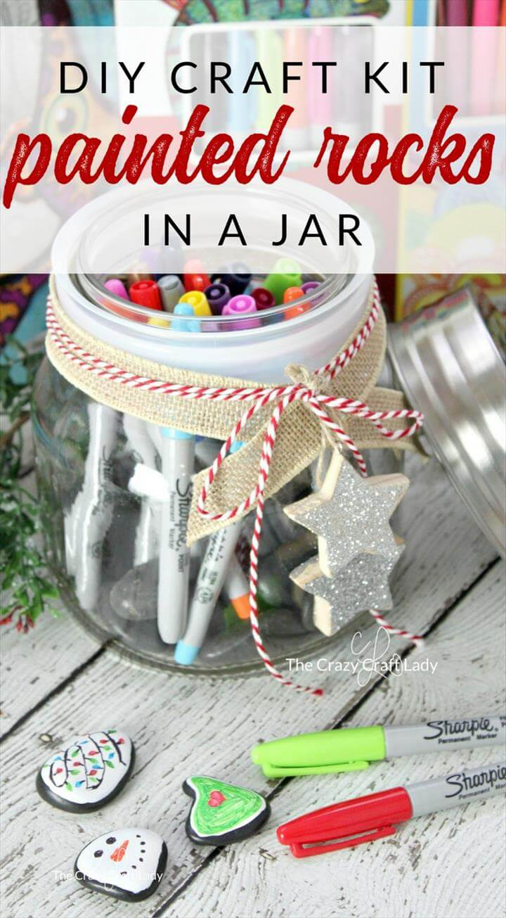 Rock Painting Kit in a Mason jar. Give this handmade gift