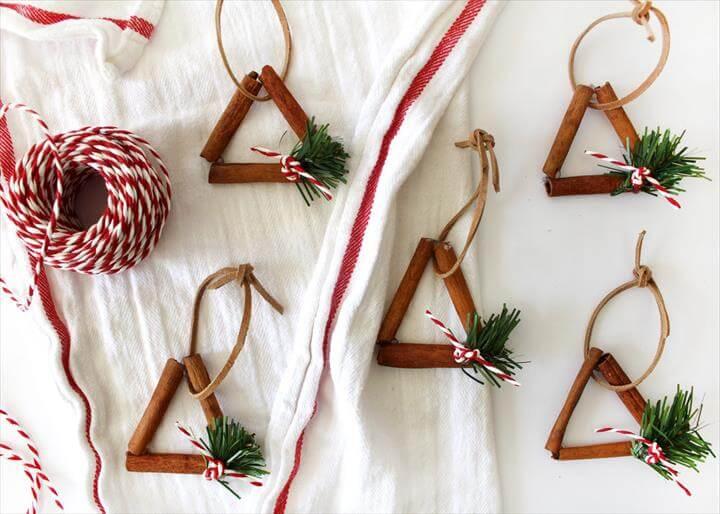 Three cinnamon sticks ornaments
