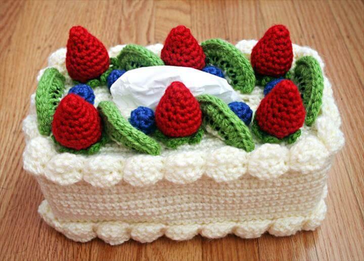 Chiffon Cake Tissue Box Cozy Free Crochet Pattern