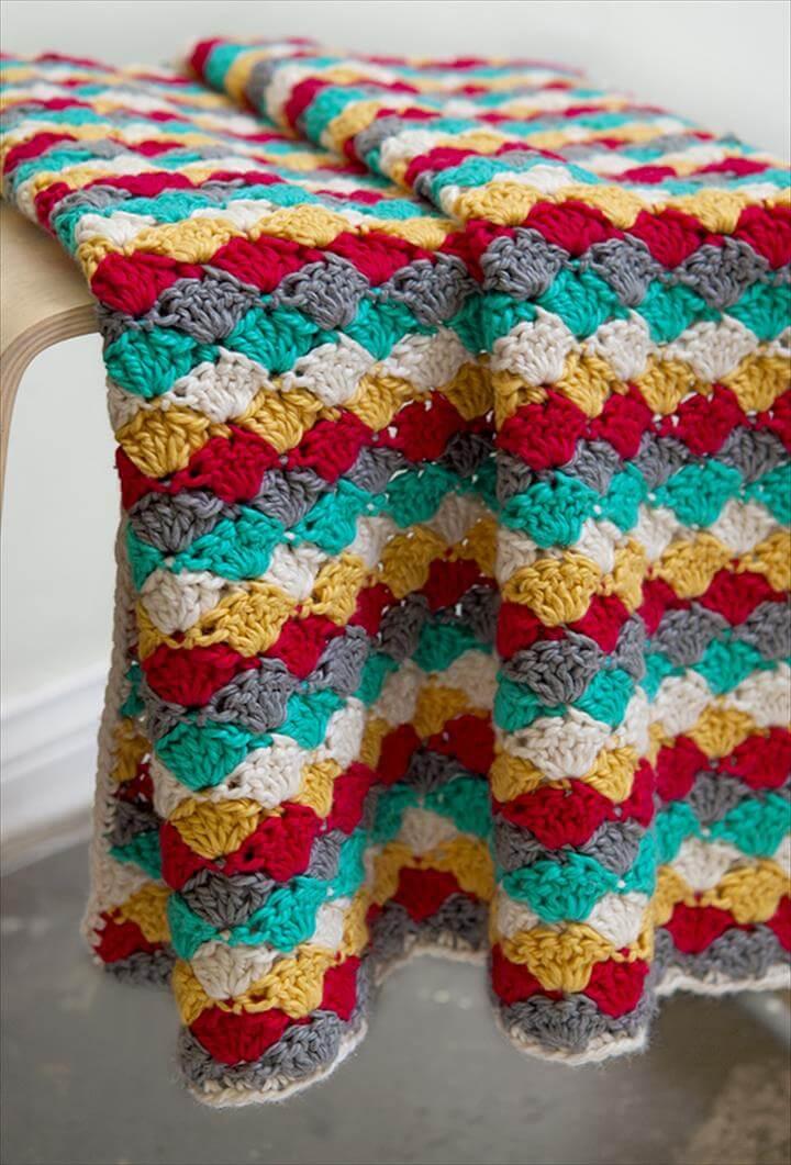 Colorful crochet baby blanket