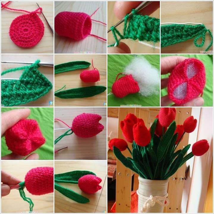 Wonderful DIY Crochet Tulip Flower