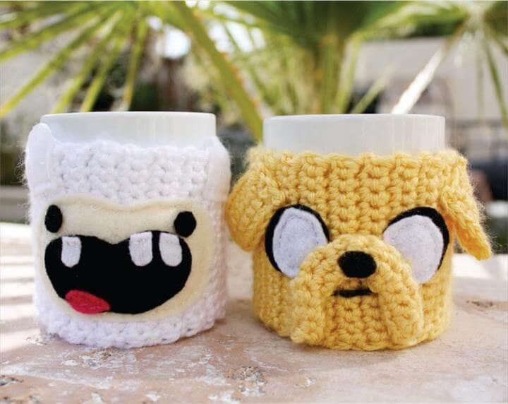 coffee mug cozy, yarn craft