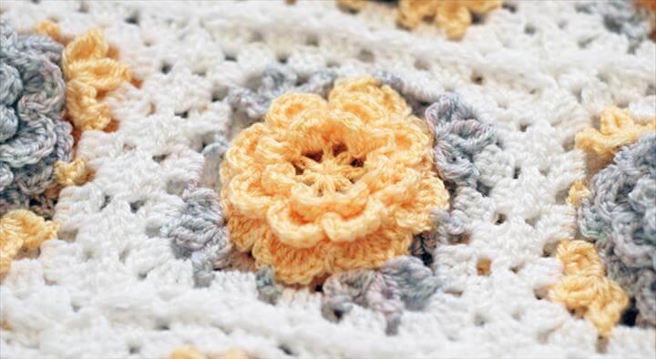 Crochet flower granny square blanket Yellow crochet flower blanket