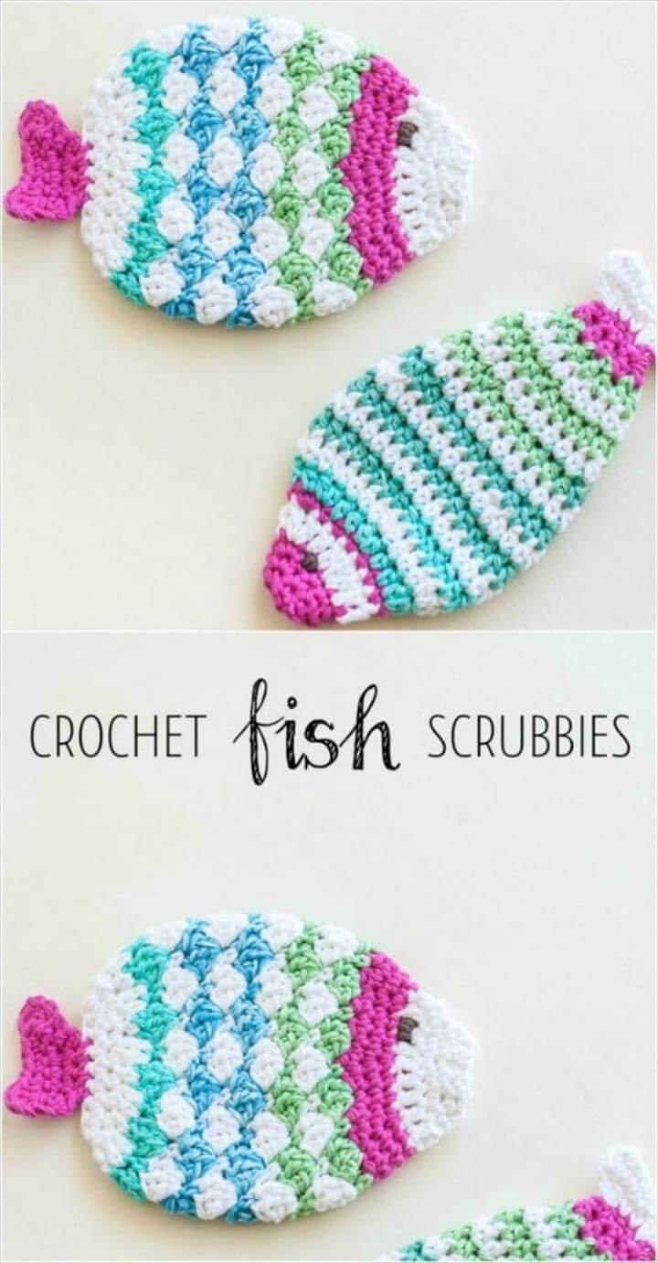 Crochet Fish Scrubbie Wash Cloths