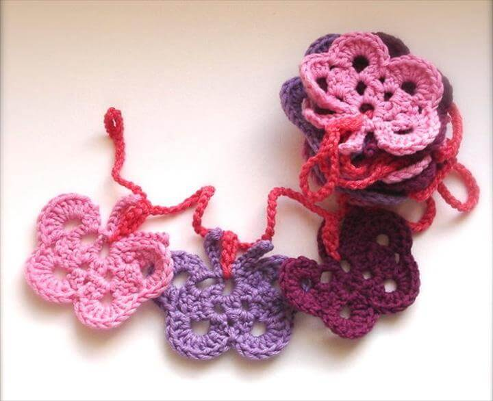 Crochet Butterfly Garland - Fabric Bunting - Home Decor ...