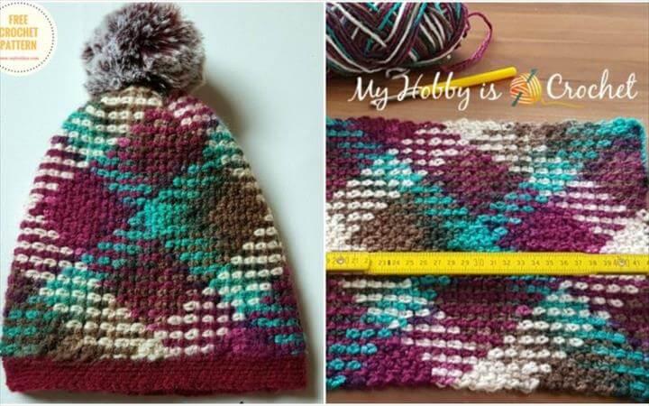 Argyle – Crochet Hat – Removable Pompom [Free Pattern]