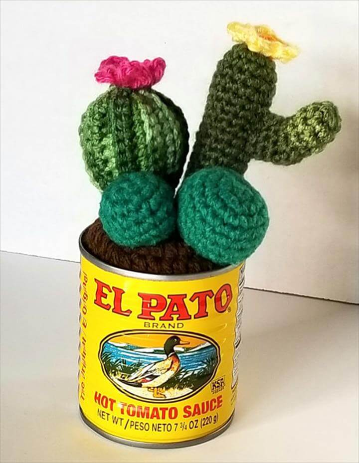 Cactus in a Can Crochet Faux Cacti Home Decor Amigurumi Gift Desert
